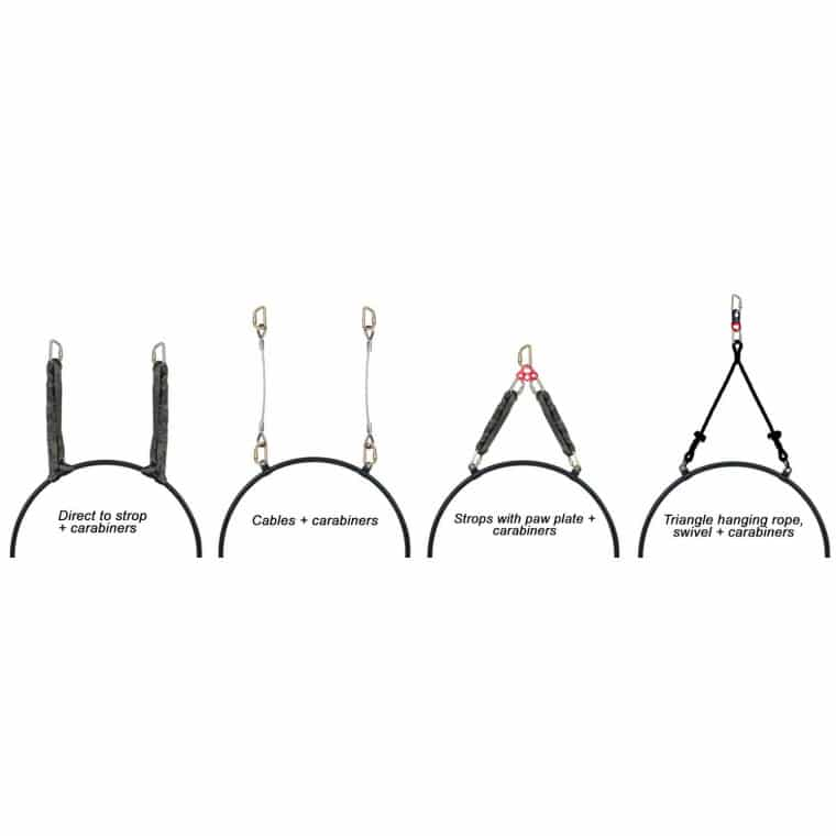 Double Point Aerial Hoop Black - Fully Strength Tested and Certified