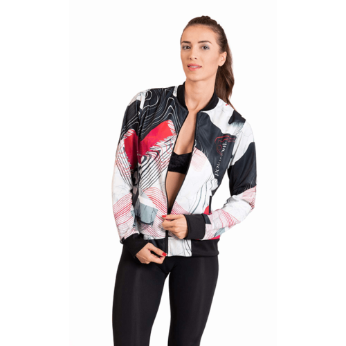Red Mesh Bomber Jacket